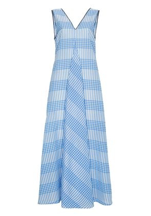 Ganni Charron sleeveless seersucker gingham dress - Blue