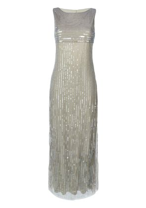 Alberta Ferretti sequined empire evening dress - Green