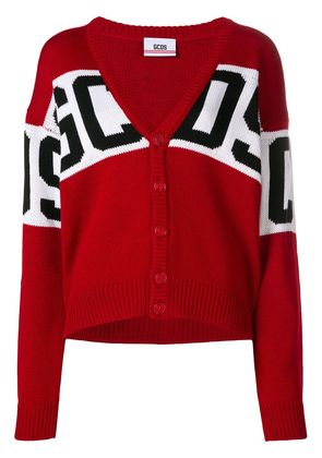 Gcds logo stripe cardigan - Red