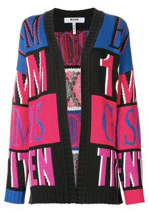 MSGM oversized intarsia knit cardigan - Pink & Purple