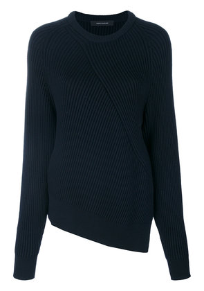 Cédric Charlier asymmetric ribbed jumper - Blue