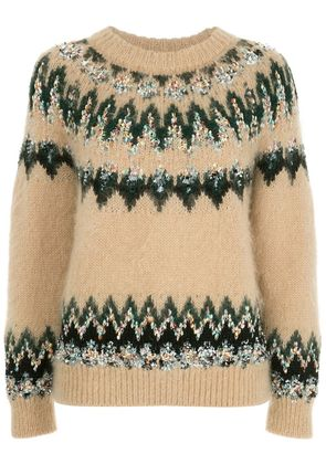 COOHEM embroidered fitted sweater - Brown