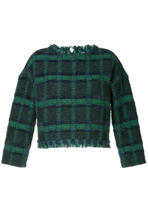 COOHEM tartan tweed sweater - Blue