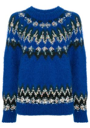 COOHEM embroidered fitted sweater - Blue
