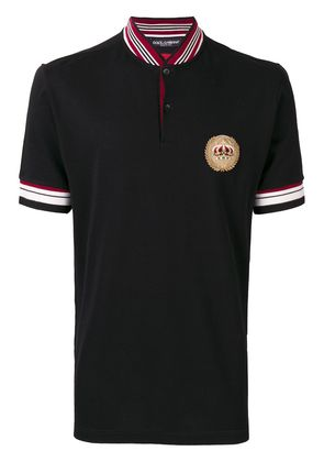Dolce & Gabbana crown crest patch polo shirt - Black