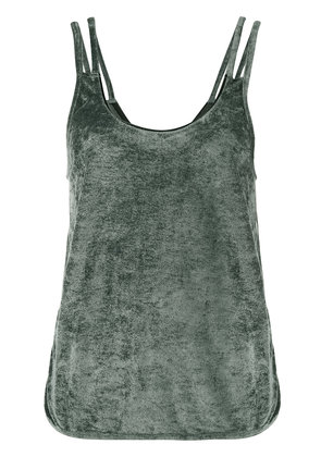 Lot78 Sleeveless Velvet Top with Cut Out Sides - Green