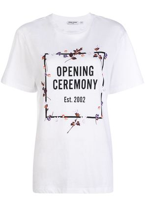 Opening Ceremony floral border logo T-shirt - White