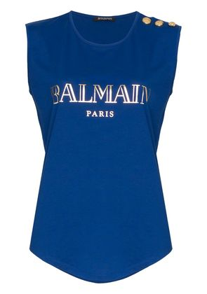 Balmain blue sleeveless logo print cotton t-shirt