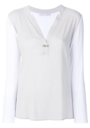 Fabiana Filippi V-neck sheer shirt - Grey