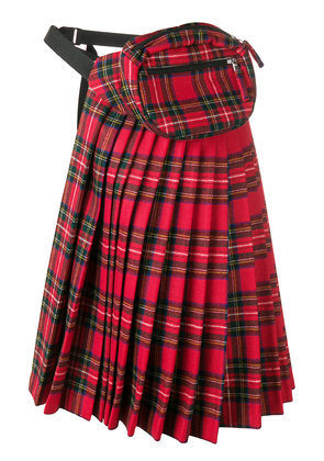 R13 checked pleated half skirt - Red