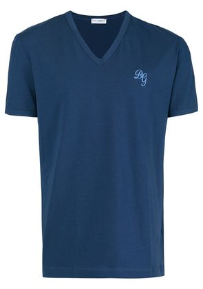 Dolce & Gabbana Underwear V-neck monogram T-shirt - Blue