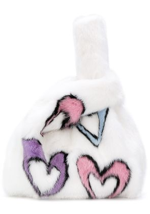 Simonetta Ravizza heart fur tote bag - White