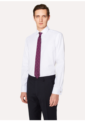 Men's Tailored-Fit White 'Artist Stripe' Double-Cuff Shirt