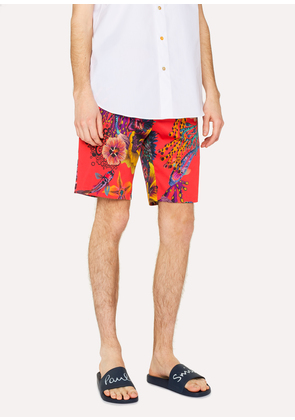 Men's Red 'Ocean' Print Stretch-Cotton Shorts