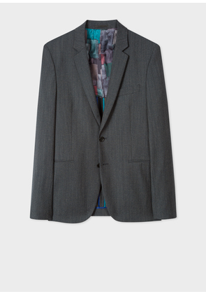 Men's Slim-Fit Navy Flecked-Wool Buggy-Lined Blazer