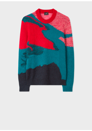 Men's Multi-Coloured Camouflage Mohair-Blend Sweater