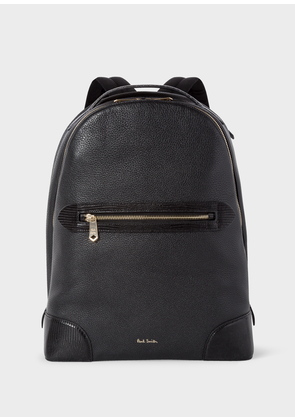 Men's Black Grained Leather Backpack