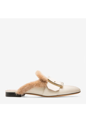 Bally Janesse White, Women's calf leather backless mule slipper in bone