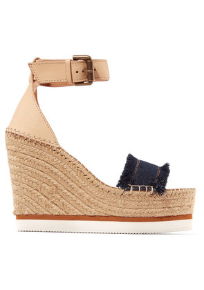 See By Chloé - Leather And Denim Espadrille Wedge Sandals - Dark denim