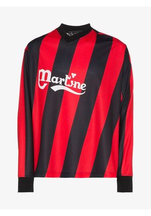 Martine Rose asymmetric stripe twisted logo football top