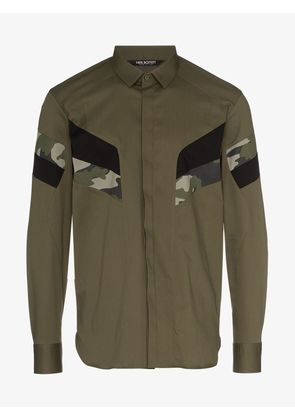 Neil Barrett green camouflage panelled cotton blend shirt