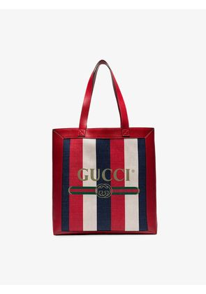 Gucci red and blue logo stripe linen and leather tote