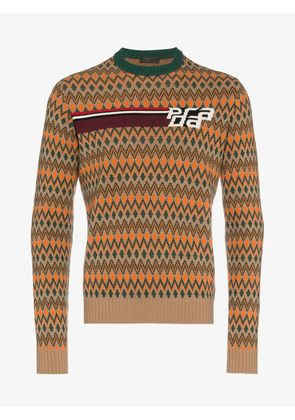 Prada Chevron logo wool pattern knit sweater