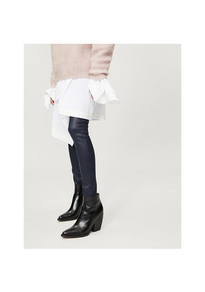 Leather-look skinny high-rise jeans