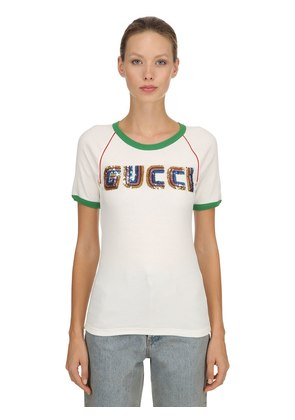 SEQUINED COTTON RIBBED JERSEY T-SHIRT