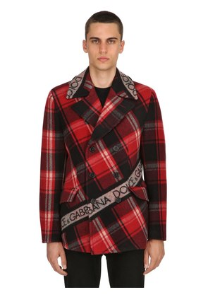 DOUBLE BREASTED WOOL PLAID COAT
