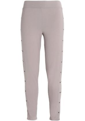 Yummie By Heather Thomson Woman Eyelet-embellished Stretch-cotton Leggings Lilac Size S