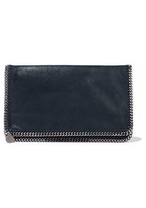 Stella Mccartney Woman Falabella Brushed Faux-leather Clutch Midnight Blue Size -
