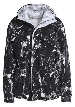 Norma Kamali Woman Reversible Printed Shell Hooded Coat Black Size S