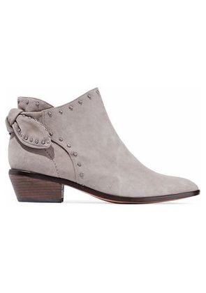 Schutz Woman Knotted Studded Suede Ankle Boots Light Gray Size 9