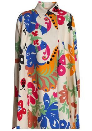 Victoria, Victoria Beckham Woman Printed Cotton Coat Ivory Size 6