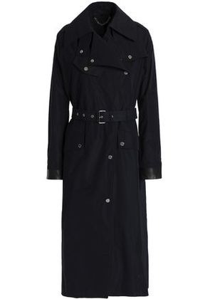 Belstaff Woman Leather-trimmed Shell Trench Coat Midnight Blue Size 42