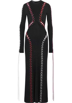 Alexander Mcqueen Woman Leather Lace-up Ribbed-knit Maxi Dress Black Size XS