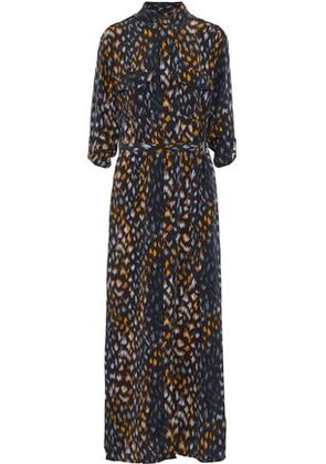 Equipment Woman Belted Printed Washed-silk Maxi Shirt Dress Black Size XS