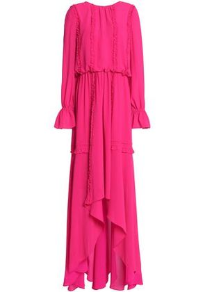 Mikael Aghal Woman Ruffled Crepe Gown Fuchsia Size 4