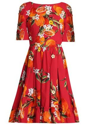 Dolce & Gabbana Woman Embellished Pleated Printed Cotton Dress Red Size 36
