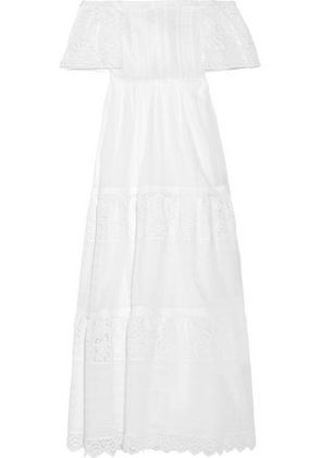 Valentino Woman Off-the-shoulder Broderie Anglaise Cotton-blend Maxi Dress White Size 40