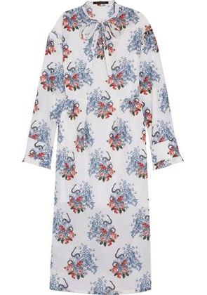 Mother Of Pearl Woman Elzie Ruffled Printed Cotton And Silk-blend Maxi Dress Off-white Size 10