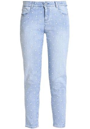 Stella Mccartney Woman Embroidered Low-rise Skinny Jeans Light Denim Size 27