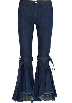Maggie Marilyn Woman Firm In Her Beliefs Frayed High-rise Flared Jeans Indigo Size 8