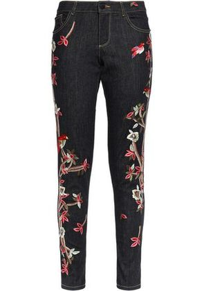Alice+olivia Woman Embroidered Mid-rise Skinny Jeans Black Size 25