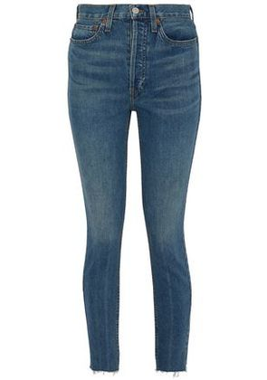 Re/done By Levi's Woman Frayed High-rise Slim-leg Jeans Mid Denim Size 27