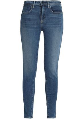 Alexander Wang Woman Faded Mid-rise Skinny Jeans Mid Denim Size 28