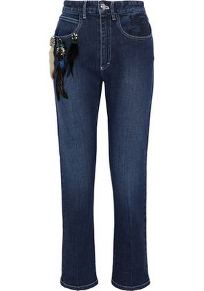 Sonia Rykiel Woman Cropped Embellished Embroidered High-rise Slim-leg Jeans Mid Denim Size 44