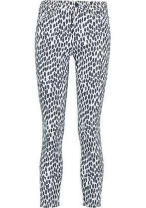 Mother Woman Printed High-rise Skinny Jeans White Size 25