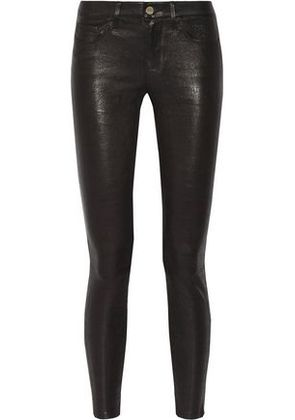 Frame Woman Le Skinny Stretch-leather Pants Black Size 25